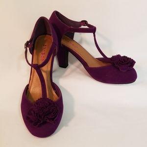 Purple Bamboo T-strap Heels Women's Size 7